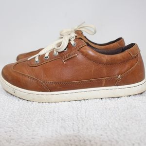 LL Bean Brown Leather Lace Up Sneakers Size 7.5